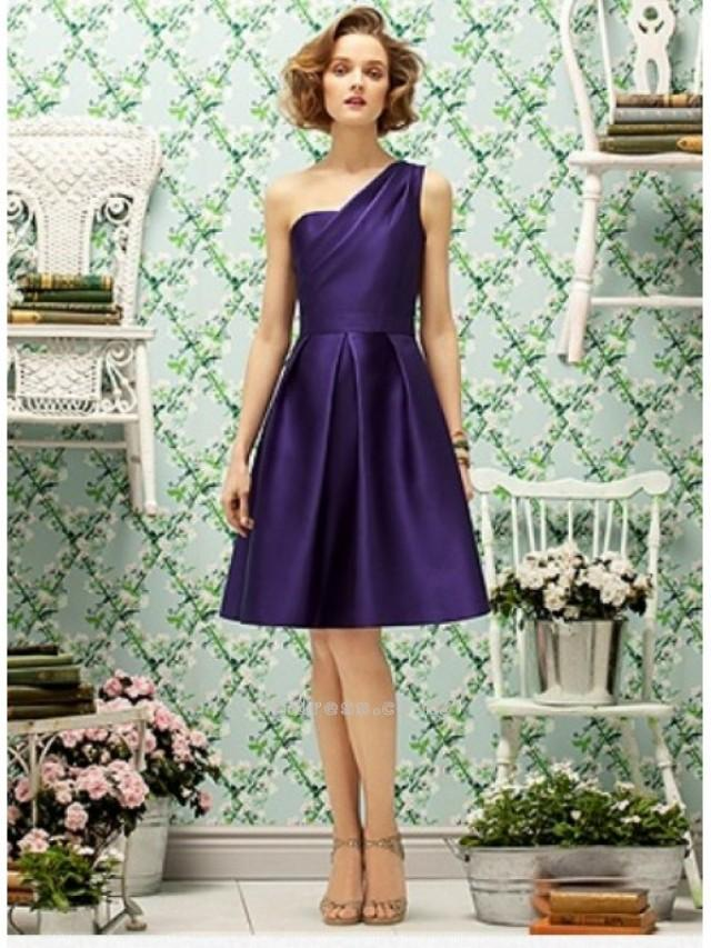 wedding photo - A line One Shoulder Knee Length Satin Bridesmaid DressesSKU: BM000088