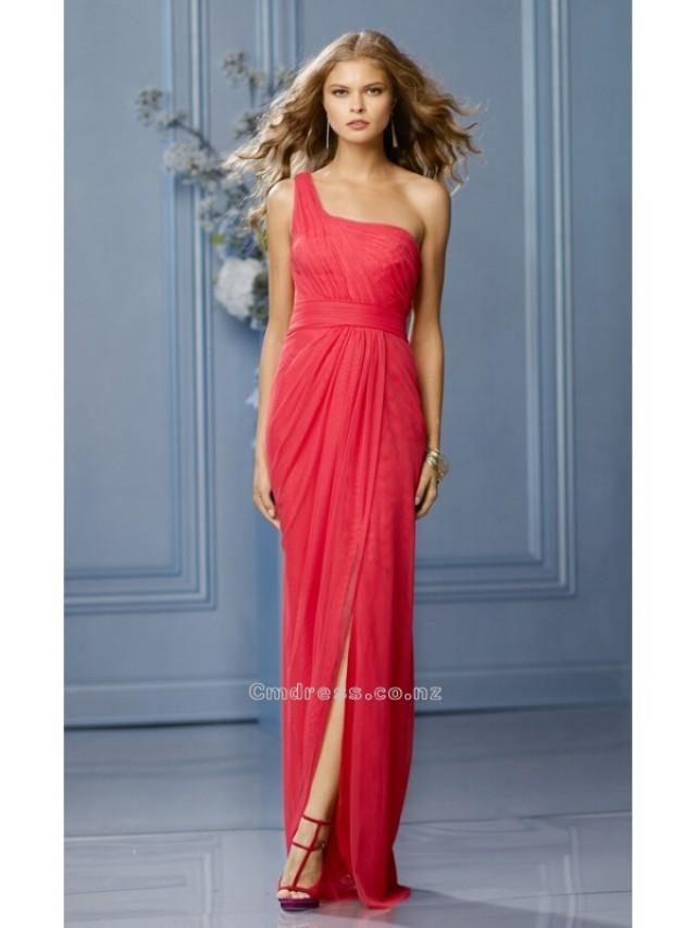 wedding photo - A Line One shoulderNeckline Floor Length Chiffon Bridesmaid DressesSKU: BM434-WT