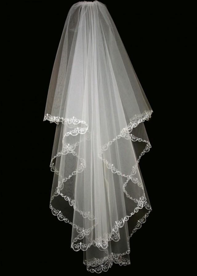 Bridal veil tess wedding veil with embroidery veil for Veil for champagne wedding dress