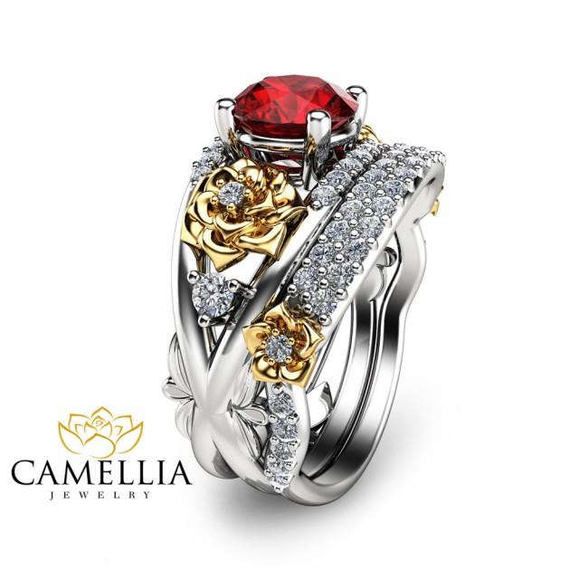 Flower design ruby engagement ring set 14k two tone gold for Ruby wedding band rings
