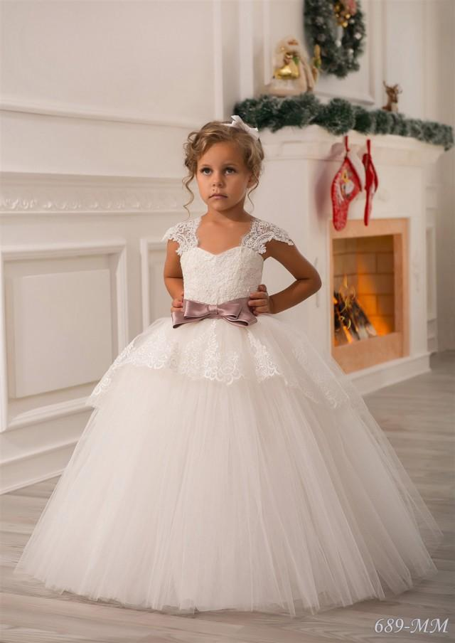 Ivory flower girl dress birthday wedding party holiday for Dresses to wear to a christmas wedding