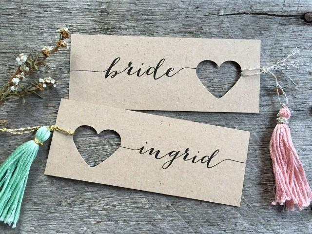 Wedding place cards heart name tags heart tags for Place cards for wedding