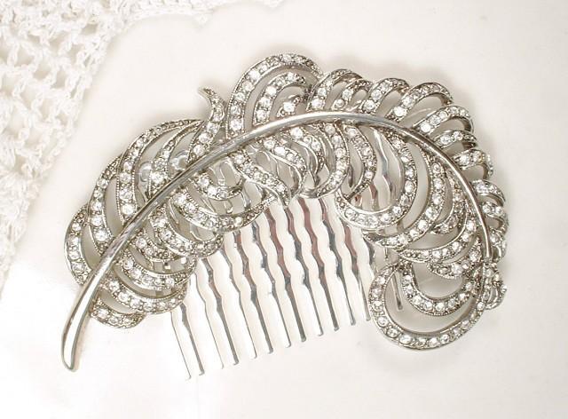 1920s Bridal Hair Comb Vintage Rhinestone Leaf Headpiece