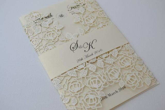 laser cut wedding invitations, ivory laser cut wedding invitation, Wedding invitations