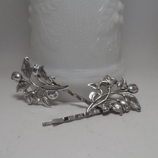flower bobby pins silver hair pins victorian hair