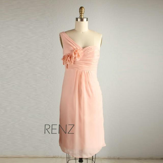 2015 peach wedding dress chiffon party dress blush pink for Short blush pink wedding dresses