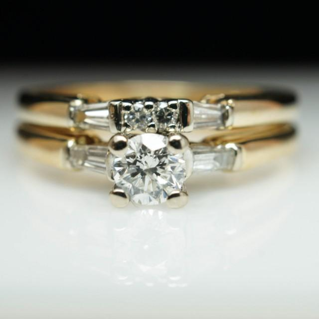 Yellow Gold Vintage Diamond Bridal Set Engagement Ring & Wedding Band Vin