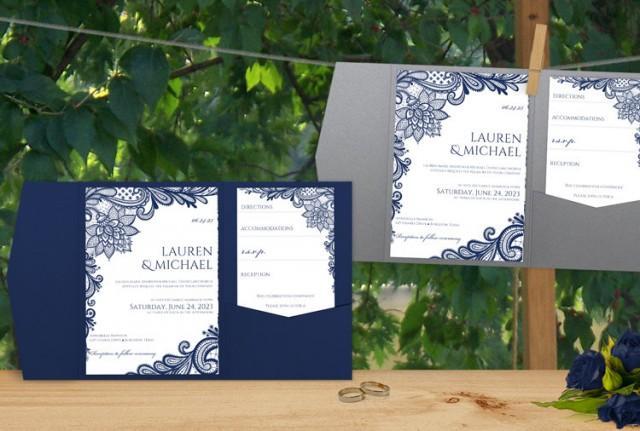 Wedding Invitations Fonts In Microsoft Word: SALE! Pocket Folder Wedding Invitation Template Set