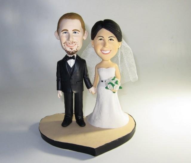 Unique Wedding Cake Topper Personalized Customm Polymer Clay Toppers Funny Cartoon Bride Amp Groom