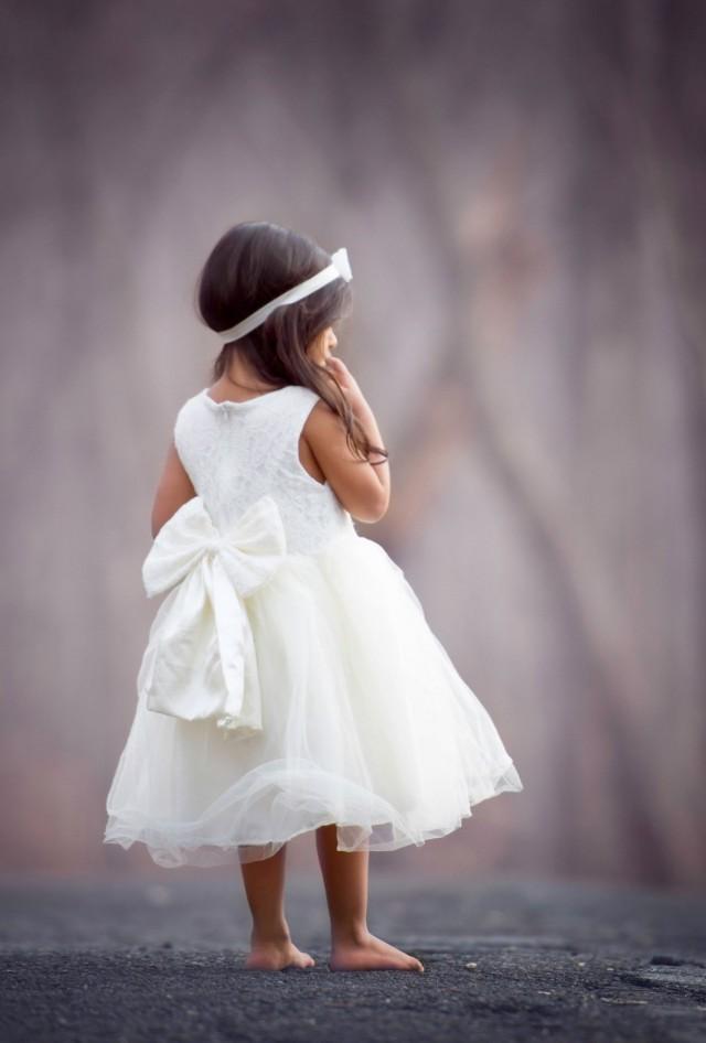 Ivory Flower Girl Dress Big Bow Back Dress Girls Lace