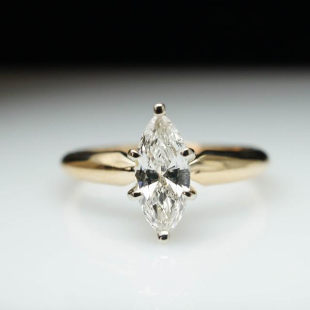 sale vintage solitaire 54ct marquise cut diamond engagement ring size 4 2431051 weddbook - Size 4 Wedding Rings