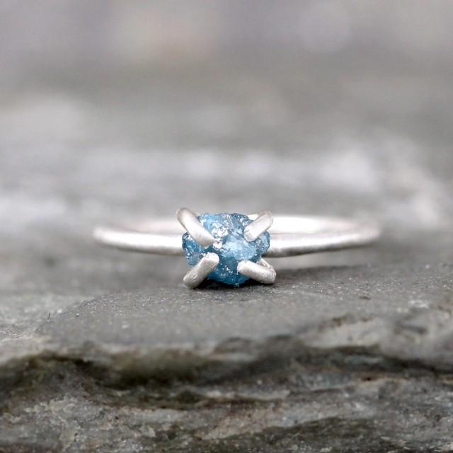 raw blue diamond engagement ring conflict free
