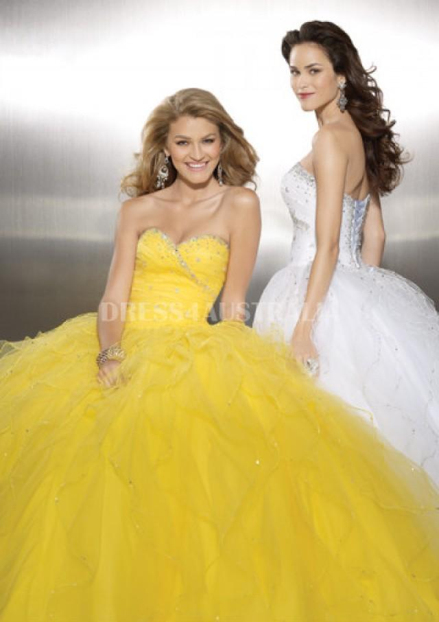 wedding photo - Buy Australia Ball Gown Daffodil Sequins Beaded Organza Evening Dress /Prom Dresses PAZ by MLGowns 8737 at AU$189.62 - Dress4Australia.com.au