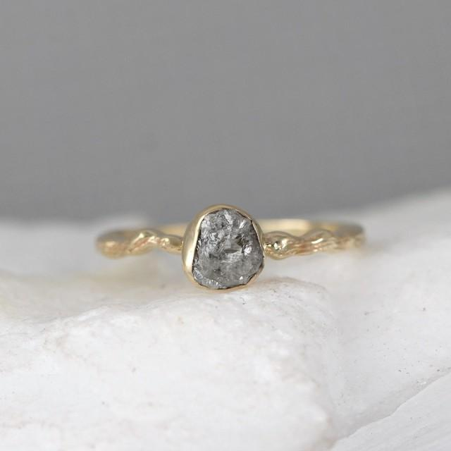 raw diamond twig engagement ring 14k yellow gold branch