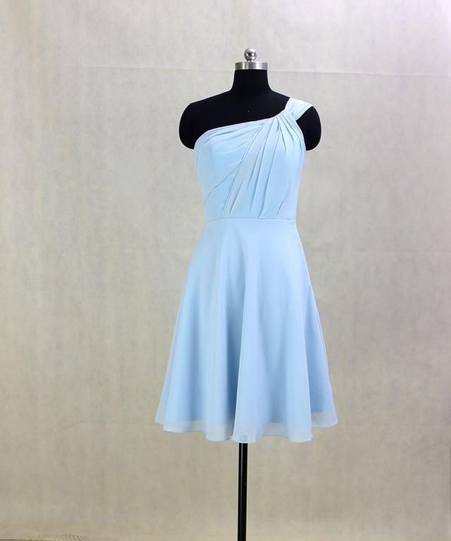 short bridesmaid dress one shoulder chiffon dress short. Black Bedroom Furniture Sets. Home Design Ideas