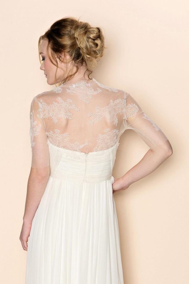 Eliza Bridal French Lace And Illusion Tulle Bolero Shrug Cover Up ...