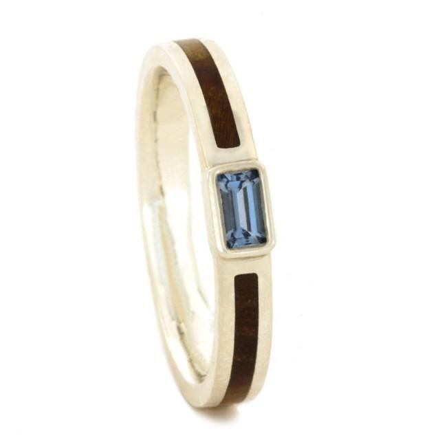 wedding photo - Aquamarine Engagement Ring With Black Ash Burl in Silver