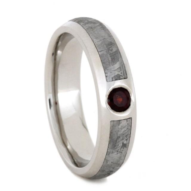 wedding photo - Palladium Engagement Ring with Mozambique Garnet