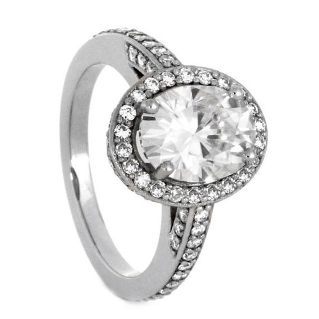 wedding photo - Palladium Engagement Ring with Halo Style Moissanites
