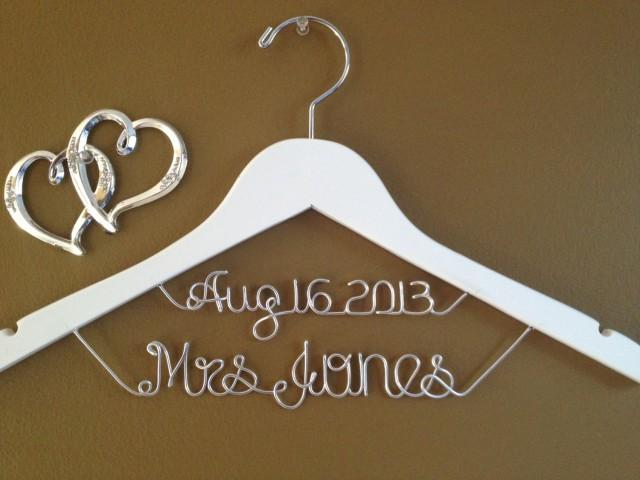 Personalized bridal hanger with date custom bridal hanger for Wedding dress hangers with name