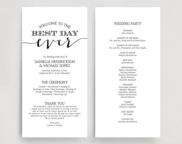 free downloadable wedding program template that can be printed - wedding programs wedding program instant download