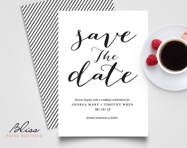 black and white custom printable save the date save the date wedding invitation card template
