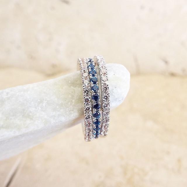 Sapphire Diamond Full Eternity Ring CZ Blue Sapphire Micro Pave Thin Stacking Band White Gold 1