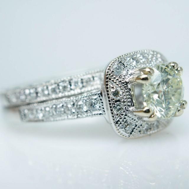Natural Champagne Diamond Vintage Style White Gold Engagement Ring Bridal Set