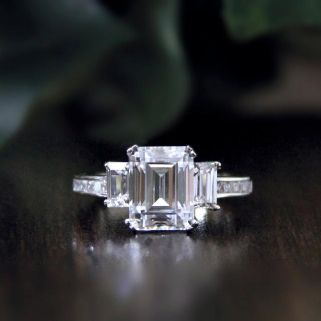 3 36 Ct Emerald Cut Diamond Simulant Engagement Ring Baguette Cut Anniv