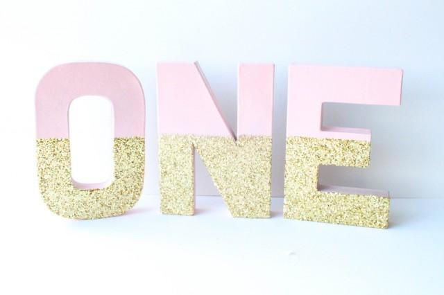Gold and blush glitter letters one 1 1st birthday Letter n home decor