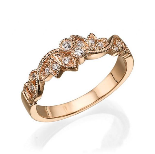 Art Deco Unique Diamond Wedding Ring 14k Two Tone Gold: Leaves Wedding Ring Rose Gold With Diamonds, Leaf Ring