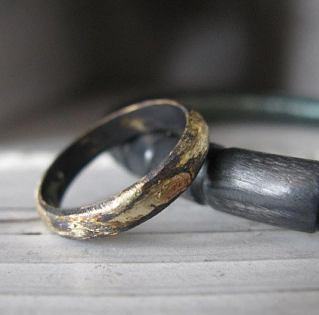 Rustic Gold And Oxidized Silver Mens Wedding Band 4mm Width Artisan Mens Wedding Ring Or
