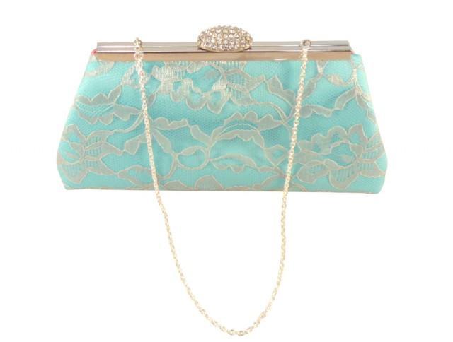 Bridesmaid Gift Clutch Aqua Blue Dusty Rose And Platinum