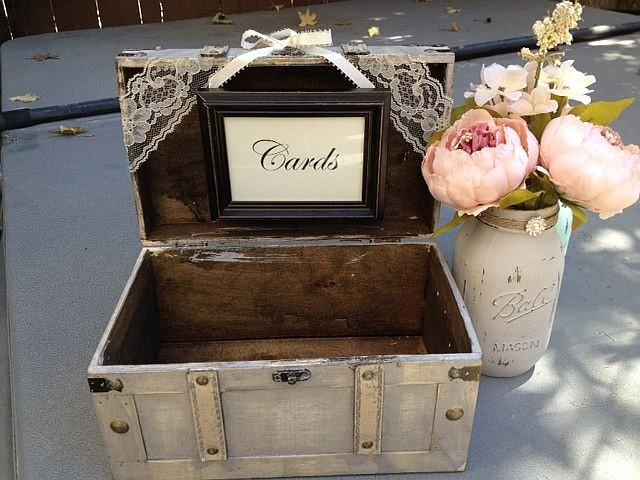 Decorating Wedding Gift Card Box : Rustic Ivory Wedding Card Box With Cards Sign /Guest Table Decor ...