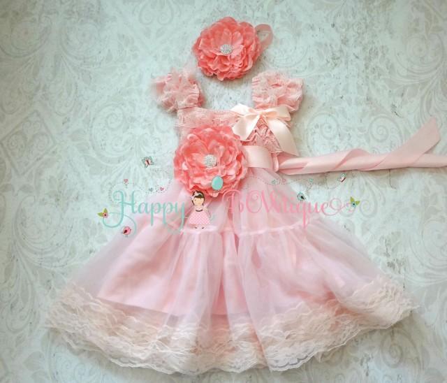 wedding photo - Flower girl dress, Princess Flower Pink Chiffon Lace Dress set, Girls dress, baby dress, Birthday dress,Baby Toddler,Pink dress,1st Birthday