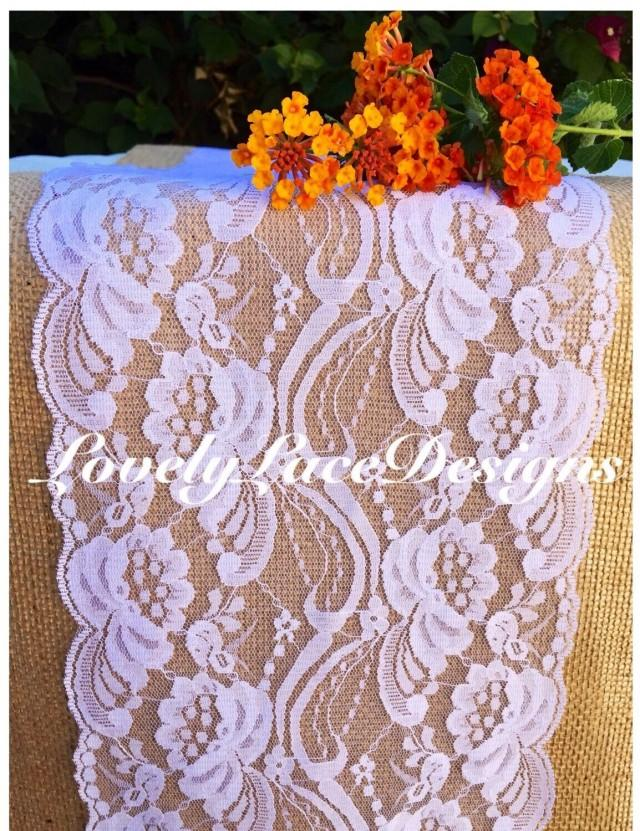 White lace table runner 3ft to 10ft long x 7 wide for 10 foot table runner