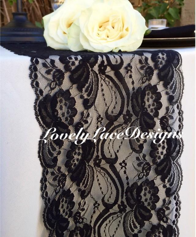 Wedding decor black lace table runner 7 wide x12ft 20ft for 12 ft table runner