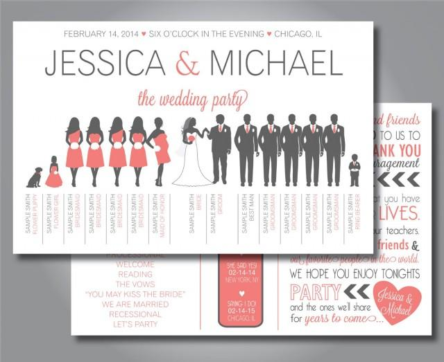 Silhouette Wedding Program Wedding Party Horizontal Layout Silhouette Front And Back