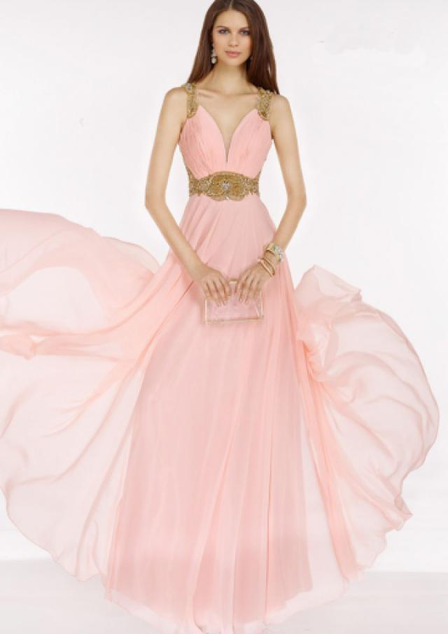 wedding photo - Buy Australia 2016 Pink A-line Straps Ruched Beaded Organza Floor Length Evening Dress/ Prom Dresses 6606 at AU$176.16 - Dress4Australia.com.au