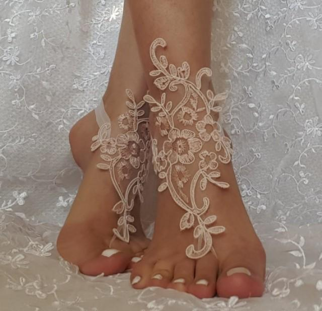 wedding photo - Free ship pink ivory cord wedding shoe barefoot sandles wedding prom party steampunk bangle beach anklets bangles bridal bride bridesmaid