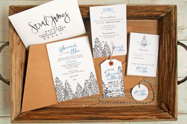 Outdoor Themed Wedding Invitations: Pine Tree Pencil Drawing Wedding Invitation