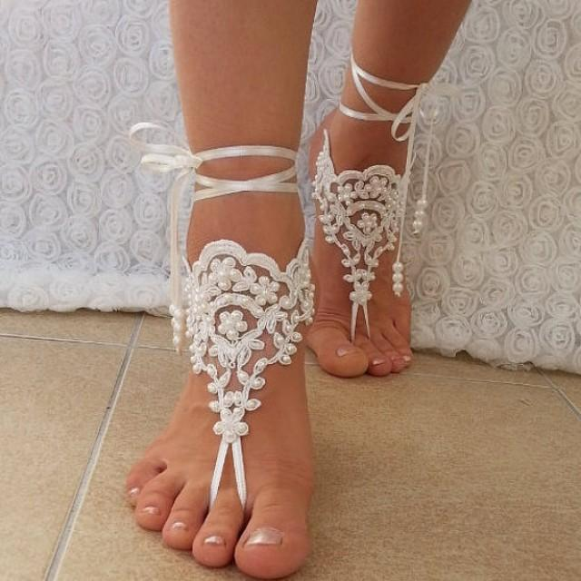wedding photo - ivory Beach wedding barefoot sandals