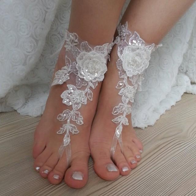 wedding photo - Free Ship bridal bangle, ivory sandals, beach wedding barefoot sandals bridesmaid wedding bangles, gift anklets, bridal, wedding sexy