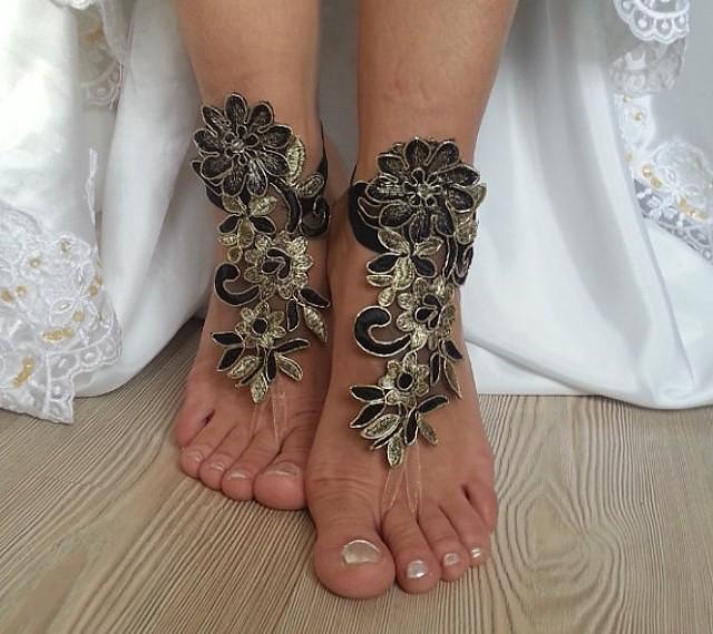 wedding photo - bridal anklet, Beach wedding barefoot sandals, gothic , yoga, bellydance, steampunk, gold black anklet, wedding shoes, summer wear