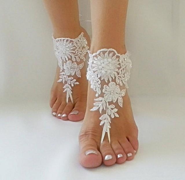 wedding photo - white Beach wedding barefoot sandals