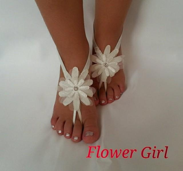 wedding photo - ivory Flower girl anklet embrodeired Beach wedding barefoot sandals bangle wedding anklet children's shoes flower kids princess