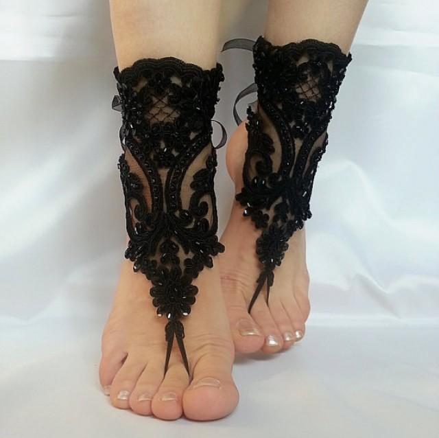 wedding photo - Free ship Scaly Beaded Black french lace gothic barefoot sandals wedding prom party steampunk burlesque vampire bangle beach anklets bridal