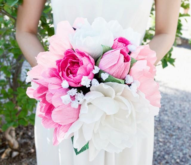 Handmade Crepe Paper Flower Bouquet Paper Flower Wedding Bouquet Bridesmai