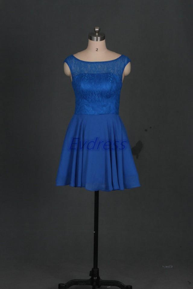 Short royal blue chiffon bridesmaid dress 2016 cheap prom for Royal blue short wedding dresses