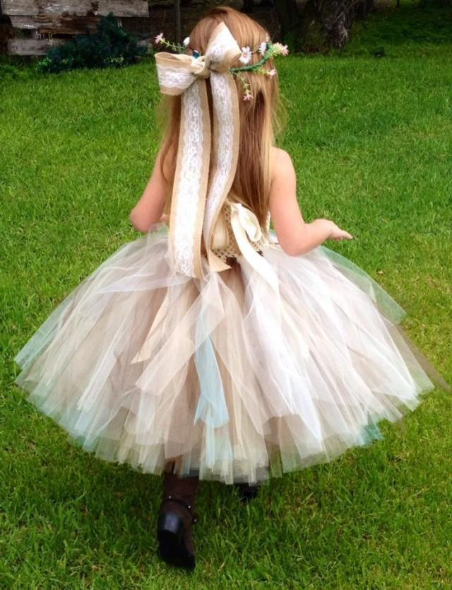 Aqua burlap lace couture with aqua flowers and tulle for Country wedding flower girl dresses